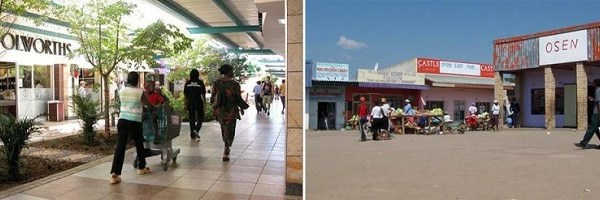 Gabarone, Botswana. The fashionable Riverwalk Mall (left) is just a couple of kilometers away from the Old Naledi Market (right), but these two urban locales are worlds apart from a socio-geographical point-of-view