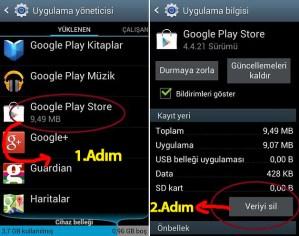 Google Play Market Veri Silme