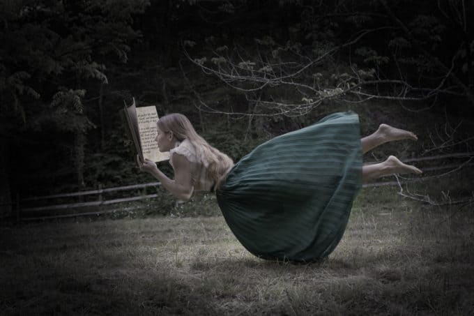 reading a book levitation