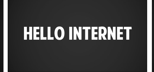 """Grey Background with """"HELLO INTERNET"""" in white text."""