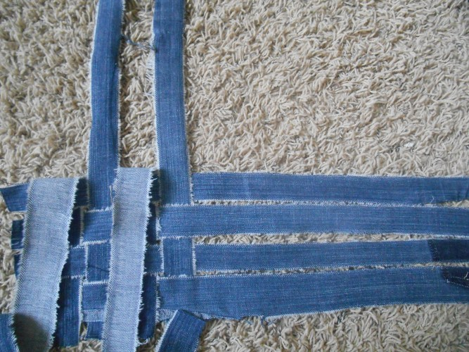 Weaving the back for my refashioned jean jacket.