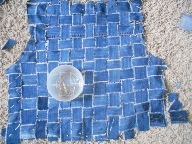 The back woven and cut out. This was for my refashioned jean jacket