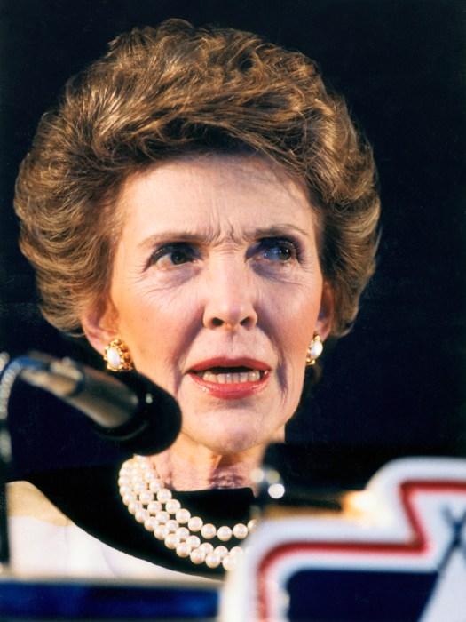 Nancy Reagan Speaking at Microphone