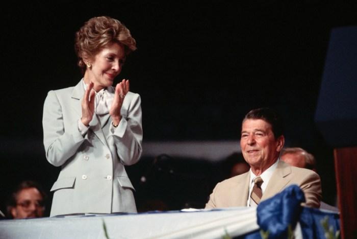 Nancy Reagan Applauding for Her Husband