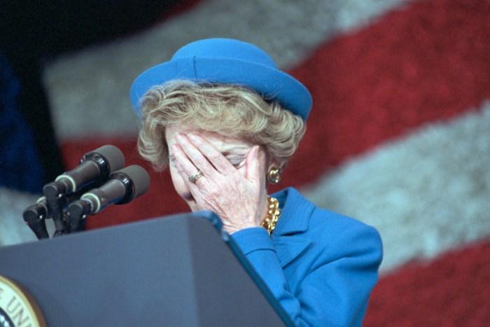 Embarrassed Nancy Reagan at the Inaugural Podium