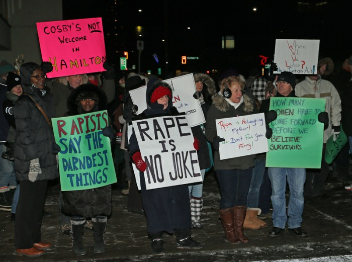 Protesters outside the Hamilton Place where comedian Bill Cosby is performing in Hamilton Ontario Canada.