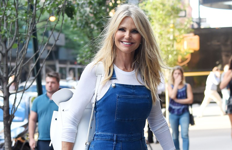Actress Christie Brinkley steps out in blue flared jean averalls in New York.  Pictured: Christie Brinkley Ref: SPL1321629  190716   Picture by: NPEx / Splash News  Splash News and Pictures Los Angeles:	310-821-2666 New York:	212-619-2666 London:	870-934-2666 photodesk@splashnews.com
