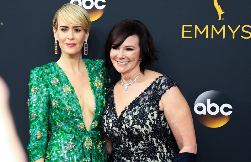 Sarah Paulson and Marcia Clark attend the 68th Annual Primetime Emmy Awards at Microsoft Theater in Los Angeles, California  Pictured: Sarah Paulson Ref: SPL1357909  180916   Picture by: London Entertainment/Splash News  Splash News and Pictures Los Angeles:310-821-2666 New York:212-619-2666 London:870-934-2666 photodesk@splashnews.com