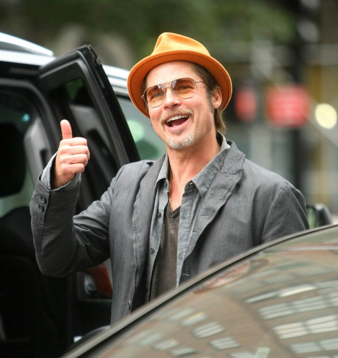 Brad Pitt giving the thumbs up