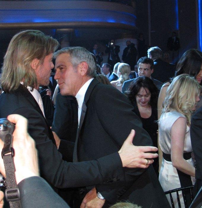 Brad Pitt, George Clooney inside the Critics' Choice Awards