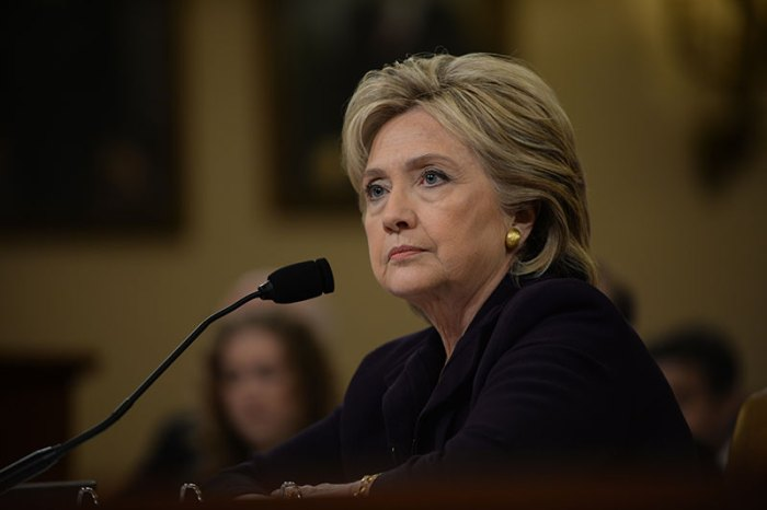 Former Secretary of State Hillary Clinton testifies before Congress about her knowledge of the even