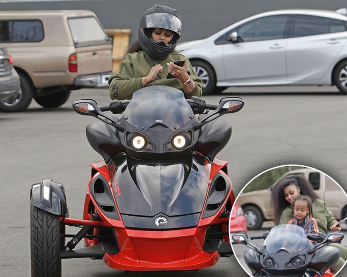 Blac Chyna Leaves A Bowling Alley in Los Angeles on Her Can Am Motocycle