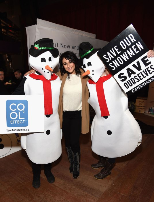 PARK CITY, UT – January 20, 2017: Actress Emmanuelle Chriqui attends the Hub at Park City Live and poses with Cool Effect to promote its #SaveOurSnowmen campaign in an effort to fight climate change.