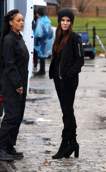 Sandra Bullock and Rihanna on the Set of Ocean's Eight