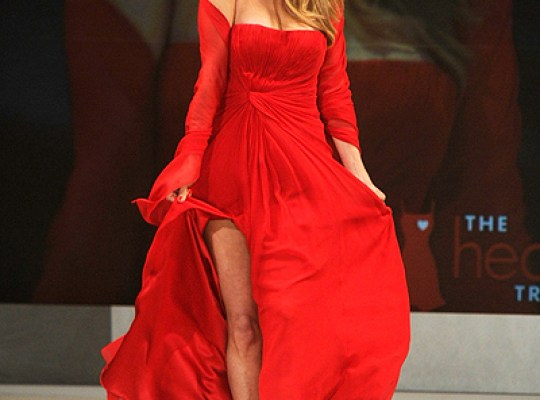 NEW YORK, NY - FEBRUARY 08: Model Christie Brinkley walks on the runway wearing a Pamella Roland design at The Heart Truth's Red Dress Collection 2012 Fashion Show at Hammerstein Ballroom on February 8, 2012 in New York City