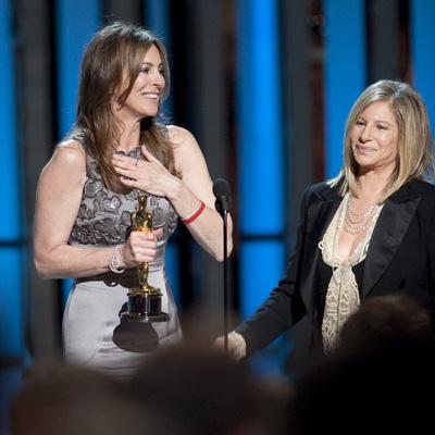 Best Director Kathryn Bigelow with presenter Barbra Streisand