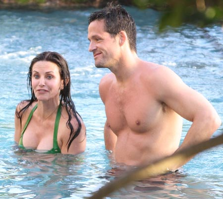 Courteney Cox and costar Josh Hopkins