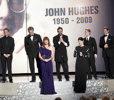 Jon Cryer, Anthony Michael Hall, Molly Ringwald, Judd Nelson, Ally Sheedy, Macaulay Culkin, and Matthew Broderick pay tribute to John Hughes