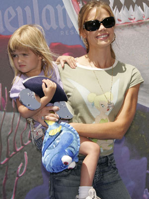 DENISE RICHARDS and her daughter SAM at the Finding Nemo Submarine Voyage opening at Disneyland Park.