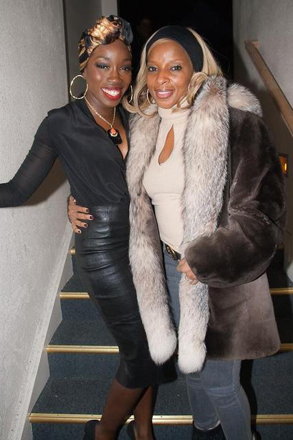 "Mary J Blige and Estelle at ""The Invisible War"" after party at the Sugar Lounge."