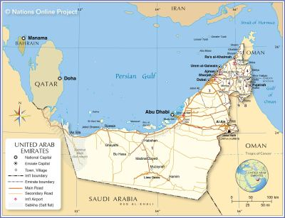 Political Map of United Arab Emirates - Nations Online Project