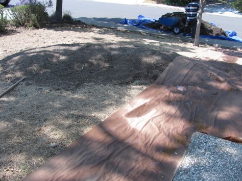 Covering a yard in paper. Around the edges is a trench to catch the mulch, and in the center is a mound.