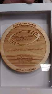 Joshua Cochrane recognition award