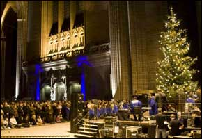 The North West's biggest real Christmas tree at Liverpool Cathedral from 2008