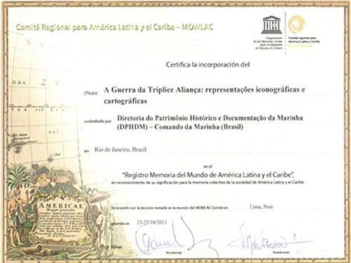 Certificado da UNESCO