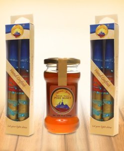 Honey and two gift boxes of 2 Handmade Taper Candles