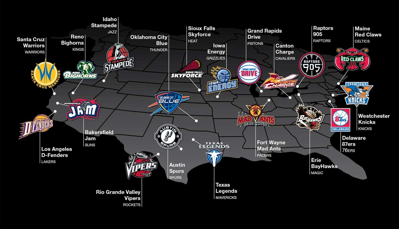 NBA D-League Mapa Franquicias