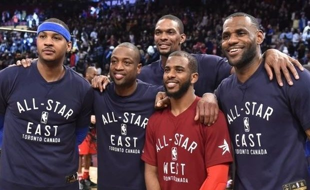Anthony, Wade, Bosh, Paul y James