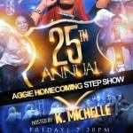 The A&T NPHC presents the 25th Annual Aggie Homecoming Step Show hosted by K. Michelle. Friday November 1st at the Greensboro Coliseum Complex.  Tickets available at the A&T Ticket Office, Ticketmaster and the Greensboro Coliseum Complex. — at North Carolina A&T State University.