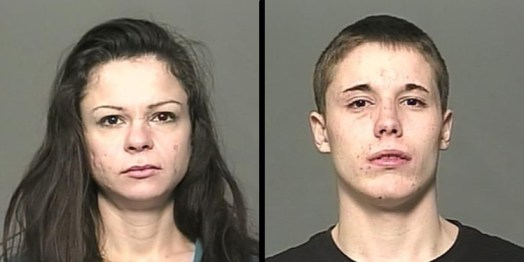 Monica Marie Thomas (left) and Connor Todd Sech are still wanted by police.