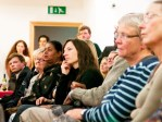 Audience listening to Evie Wyld read