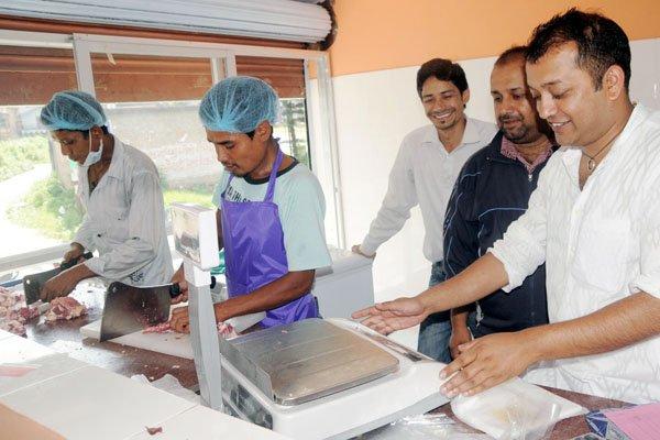 Gagan Thapa at his meat shop