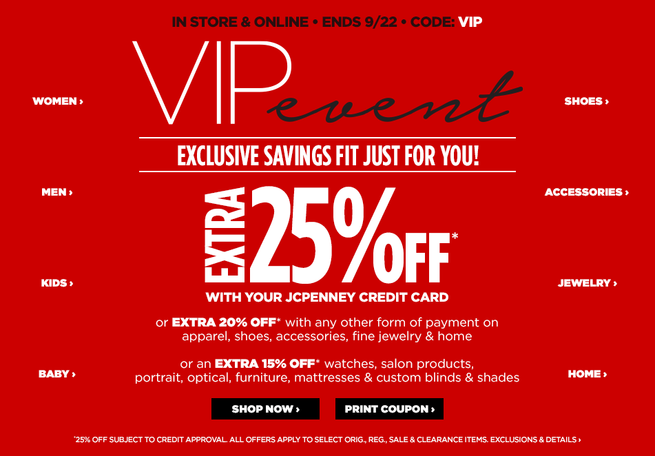 Save Up To 25% at JCPenney VIP Sale Event