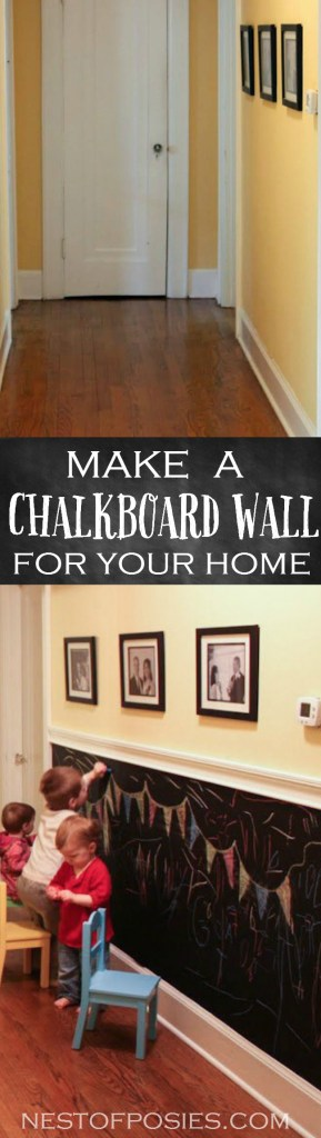 Make a Chalkboard Wall for your home for under 20 dollars!  Full tutorial @NestofPosies