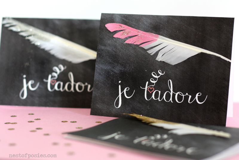 je t'adore Valentine chalkboard cards