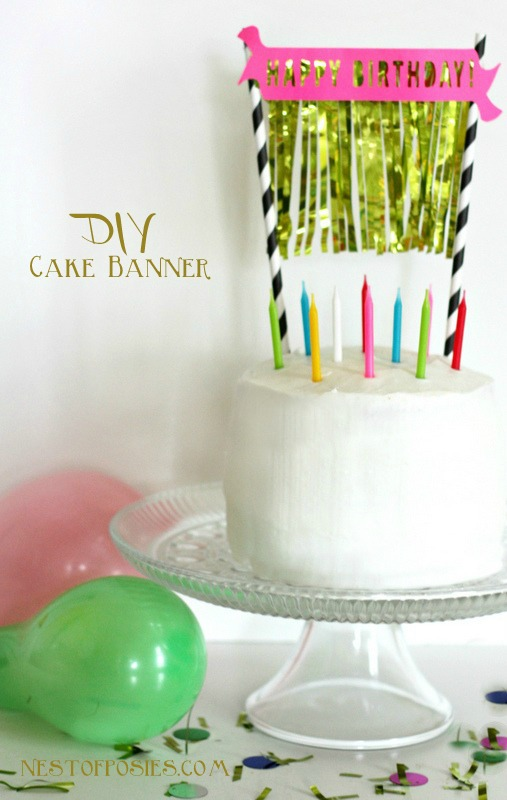 DIY Birthday Cake Banner with Gold Fringe via Nest of Posies with free #Silhouette download cutting file