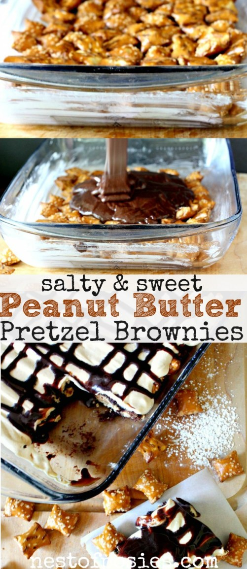 . Sweet and Salty Peanut Butter Pretzel Brownies made with a brownie ...