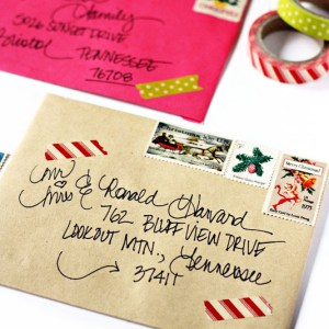 Addressing Christmas Envelopes using Washi Tape