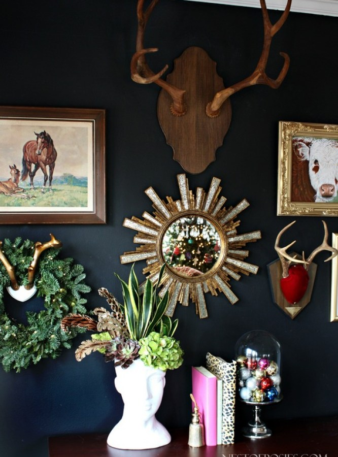 Eclectic Black Gallery Wall with antler, paintings & vintage treasures