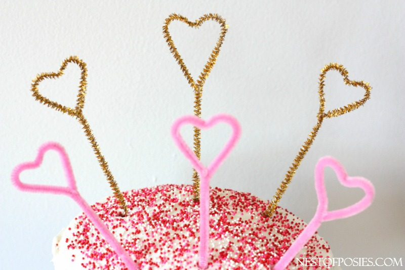 pipe cleaner heart cake toppers