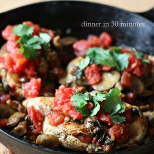 Mexican Skillet Chicken.  Healthy and so easy to make!  Dinner made in about 30 minutes!