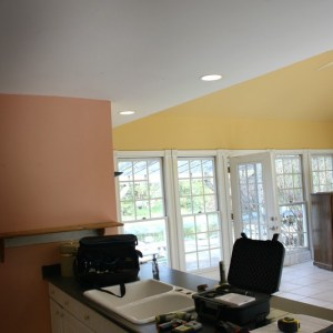 Kitchen Island and SunroomFamily Room