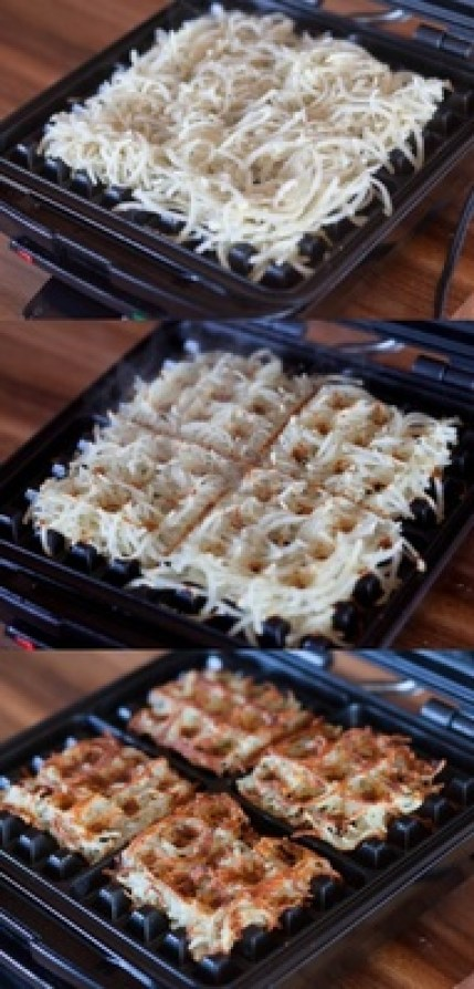 Hash Browns in a waffle iron!