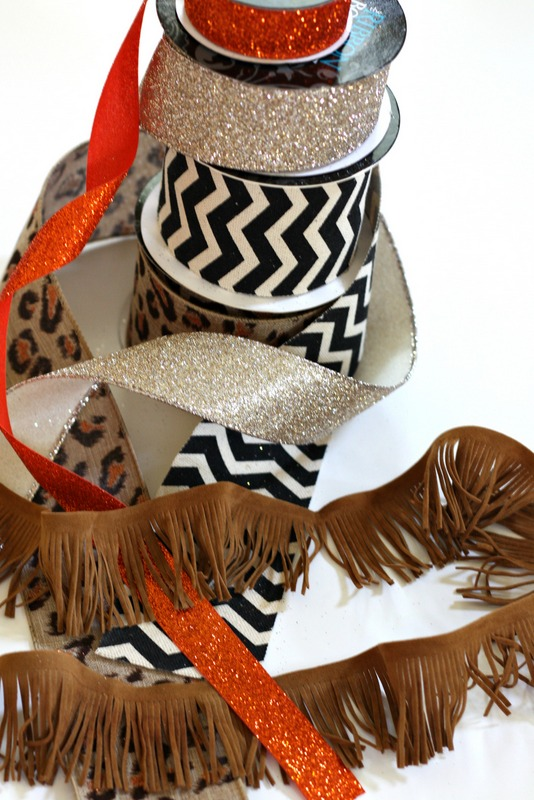 Ribbon and Suede Trim to Decorate your Fall Wreath