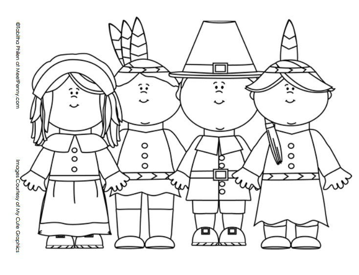 Thanksgiving Coloring Pages Pilgrims Indians