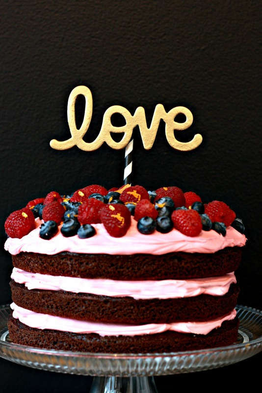 Chocolate Berry Cream Cake with DIY Cake Topper